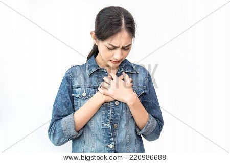 Young Asian Woman Having A Pain In The Heart Area Isolated On White Background, Sick Woman With Sudd