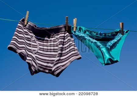 Gender concept mens cotton boxers & silk panties
