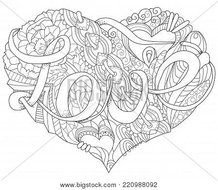 Vector Adult Coloring Book Textures. Hand-painted art design. Adult anti-stress coloring page. Black and white hand drawn illustration of heart for coloring book.