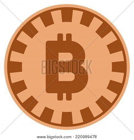 Bitcoin bronze casino chip icon. Vector style is a bronze flat gambling token item.
