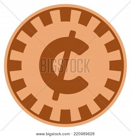 Cent copper casino chip pictogram. Vector style is a copper flat gambling token symbol.