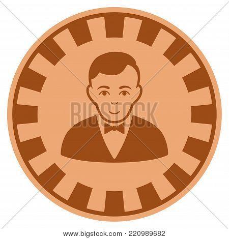 Croupier Dealer bronze casino chip icon. Vector style is a bronze flat gamble token symbol.