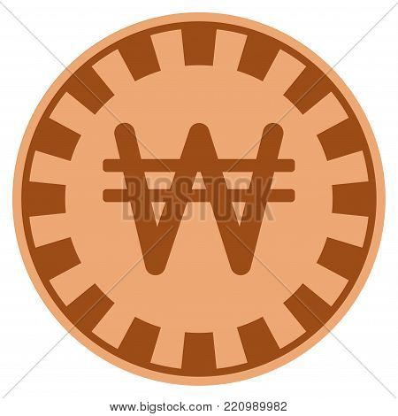 Korean Won copper casino chip pictograph. Vector style is a copper flat gamble token item.