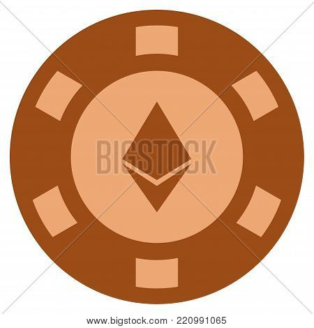 Ethereum Crystal bronze casino chip icon. Vector style is a bronze flat gamble token item.