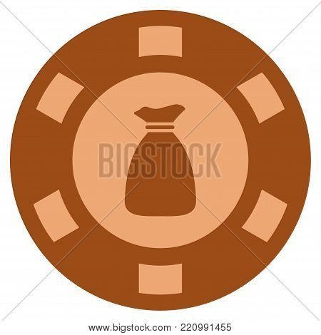 Money Bag bronze casino chip pictograph. Vector style is a bronze flat gambling token symbol.