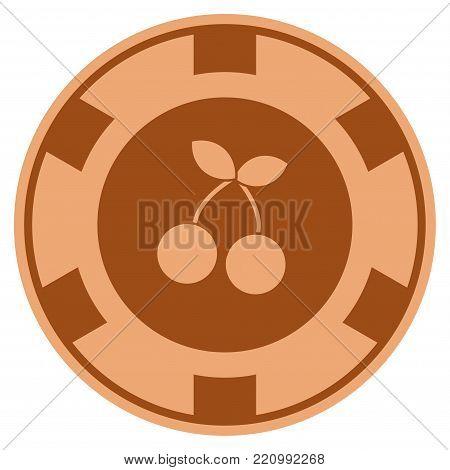 Cherry bronze casino chip pictogram. Vector style is a bronze flat gamble token item.