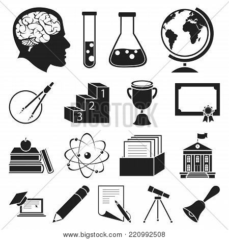School and education black icons in set collection for design.College, equipment and accessories vector symbol stock  illustration.