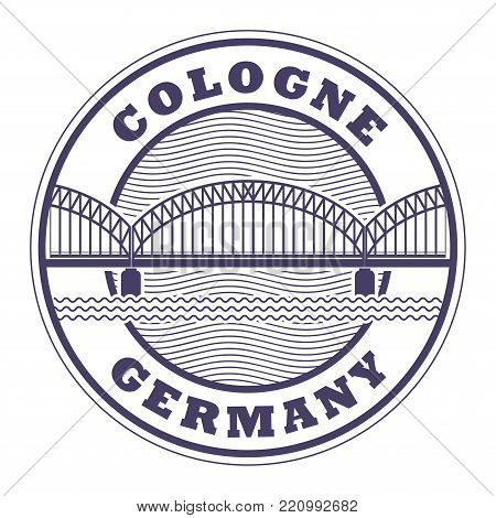 Stamp with bridge and words Cologne, Germany inside, vector illustration