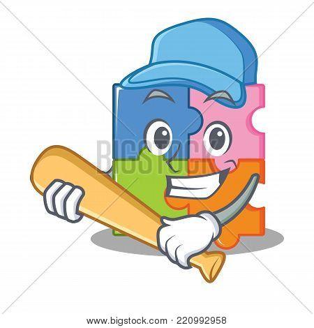 Playing baseball puzzle character cartoon style vector illustration