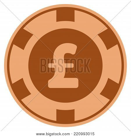 Pound Sterling bronze casino chip pictogram. Vector style is a copper flat gamble token item.