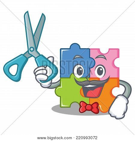 Barber puzzle character cartoon style vector illustration