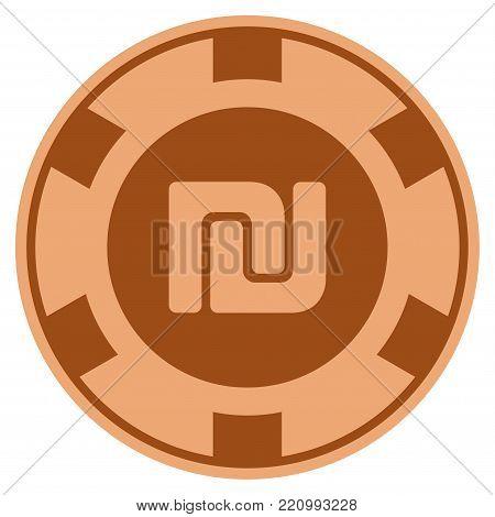 Shekel bronze casino chip pictogram. Vector style is a bronze flat gambling token symbol.