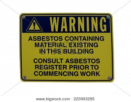 A warning sign on a building advising that materials contain asbestos
