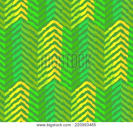 Abstract green coniferous or pine-tree forest seamless pattern. Bright geometric texture with green and yellow zigzags for textile, wrapping paper, background, cover, surface