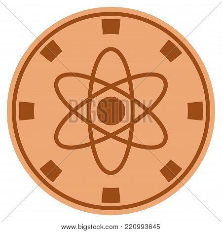 Atom bronze casino chip pictogram. Vector style is a bronze flat gamble token symbol.