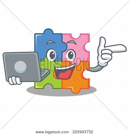 With laptop puzzle character cartoon style vector illustration