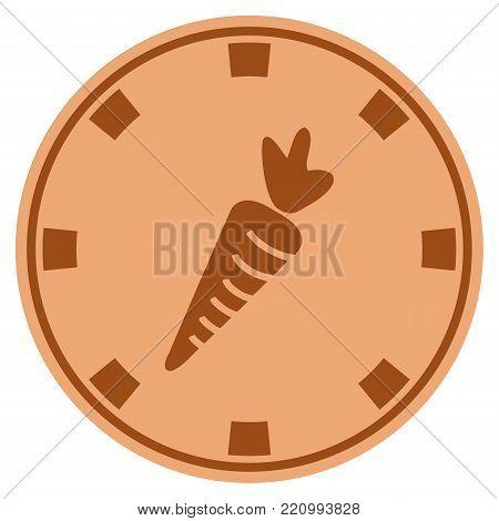 Carrot bronze casino chip pictogram. Vector style is a bronze flat gamble token item.