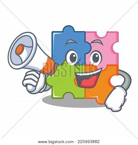 With megaphone puzzle character cartoon style vector illustration