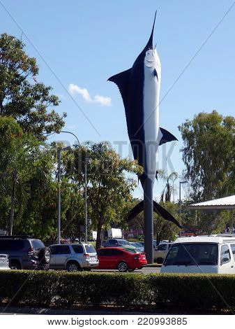 Cairns, Queensland, Australia-August 24, 2017:  A replica of a Blue Marlin used as a advertising icon at a shopping center.