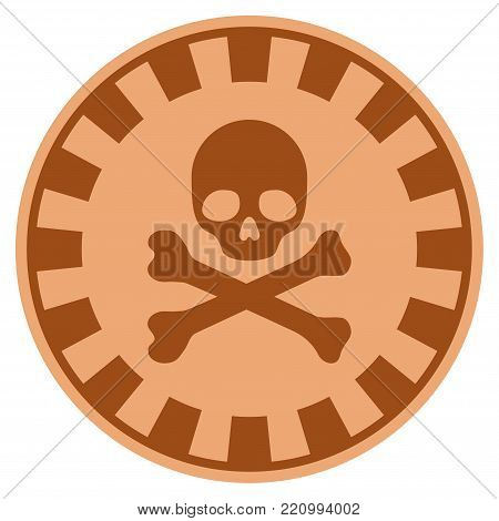 Crossbones Skull copper casino chip icon. Vector style is a copper flat gambling token symbol.