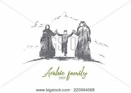 Arabic family concept. Hand drawn parents and child. Happy middle eastern family isolated vector illustration.