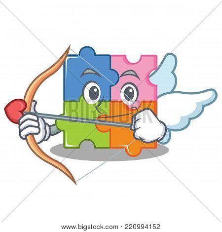Cupid puzzle character cartoon style vector illustration