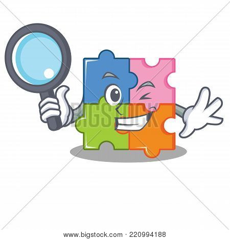 Detective puzzle character cartoon style vector illustration