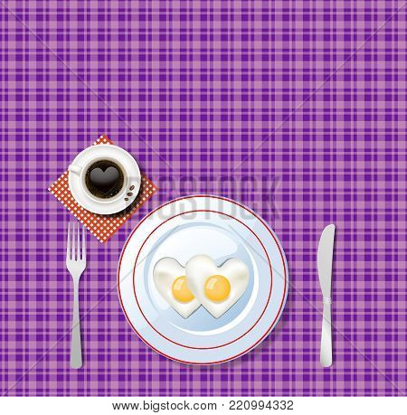 Vector illustration of heart shaped scrambled eggs on white plate and cup of coffee with heart on violet chequered tablecloth background. Top view of love breakfast. Happy Valentine's day card concept