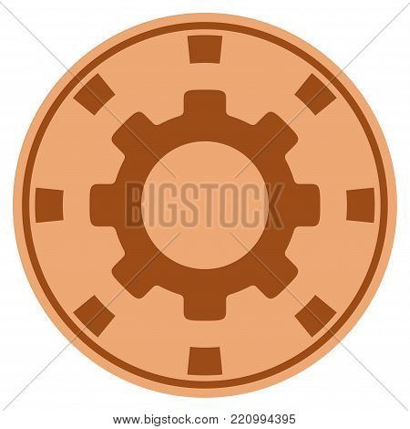 Gear bronze casino chip icon. Vector style is a bronze flat gambling token symbol.