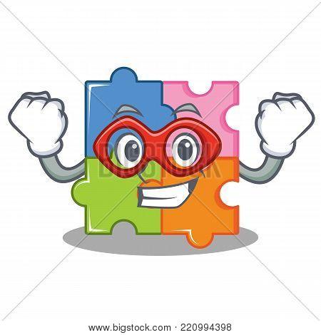 Super hero puzzle character cartoon style vector illustration