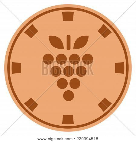 Grapes bronze casino chip pictograph. Vector style is a bronze flat gambling token item.