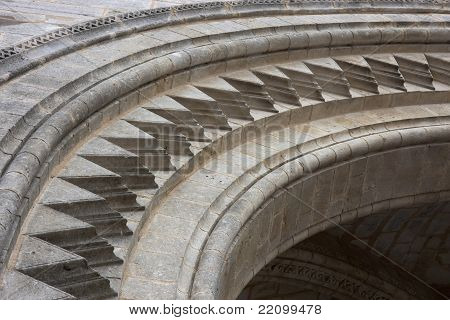 archivolts - architectural details of a cathedral arch done in gothic style poster