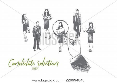 Candidate selection concept. Hand drawn huge hand pointing at one of candidates for job. Concept of recruiting isolated vector illustration.