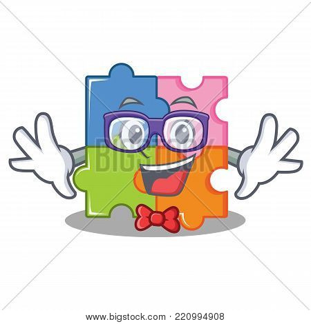 Geek puzzle character cartoon style vector illustration