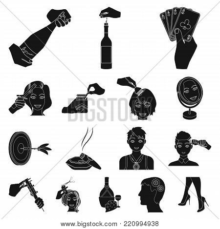Manipulation by hands black icons in set collection for design. Hand movement vector symbol stock illustration.