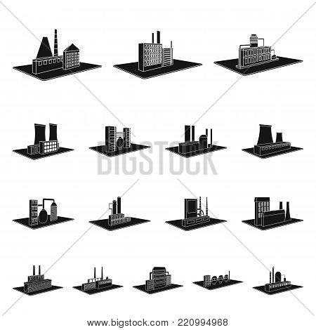 Factory and plant black icons in set collection for design. Production and enterprise vector isometric symbol stock  illustration.