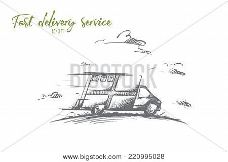 Fast delivery service concept. Hand drawn delivery by car. Courier delivery service isolated vector illustration.