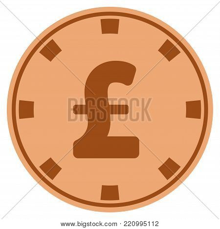 Pound Sterling bronze casino chip pictograph. Vector style is a copper flat gamble token symbol.