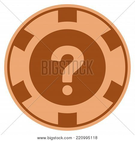 Query bronze casino chip pictograph. Vector style is a bronze flat gamble token item.