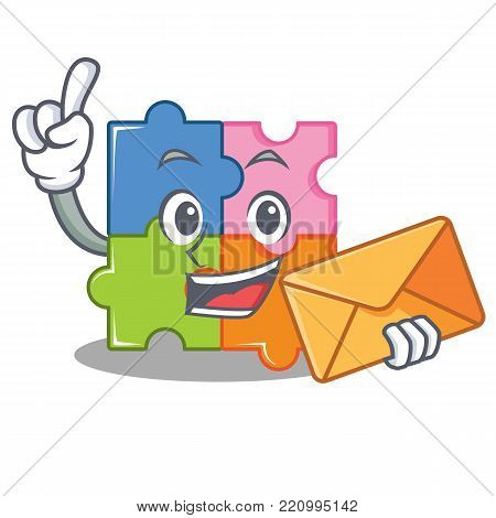 With envelope puzzle character cartoon style vector illustration