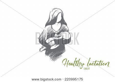Healthy lactation concept. Hand drawn mother breastfeeding baby. Baby eating mother's milk isolated vector illustration.