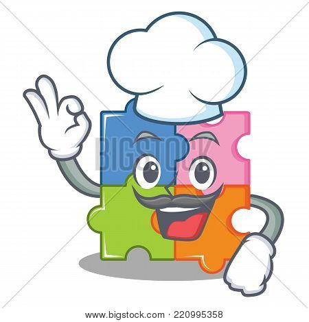 Chef puzzle character cartoon style vector illustration