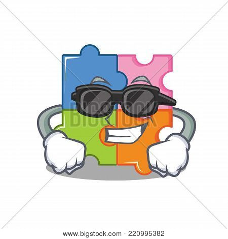 Super cool puzzle character cartoon style vector illustration
