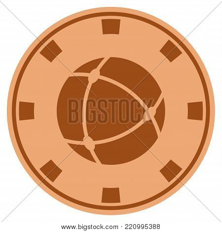 Universe bronze casino chip pictograph. Vector style is a bronze flat gambling token symbol.
