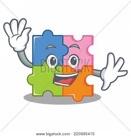 Waving puzzle character cartoon style vector illustration