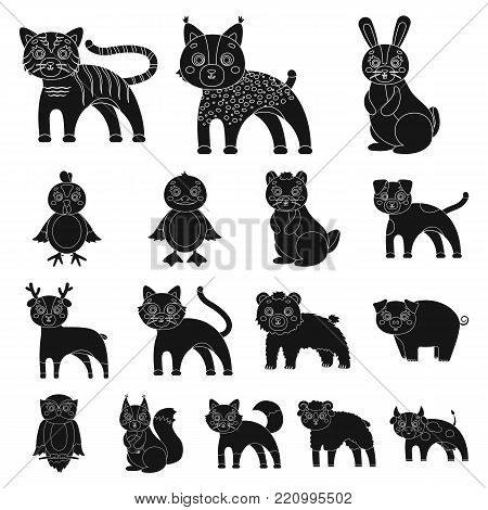 Toy animals black icons in set collection for design. Bird, predator and herbivore vector symbol stock  illustration.