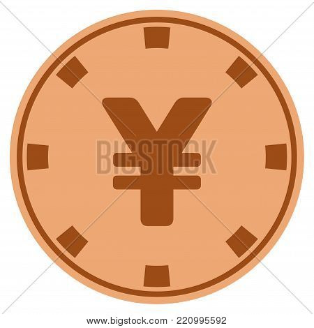 Yuan bronze casino chip pictograph. Vector style is a bronze flat gambling token item.