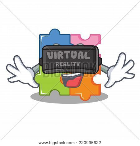 With virtual reality puzzle mascot cartoon style vector illustration