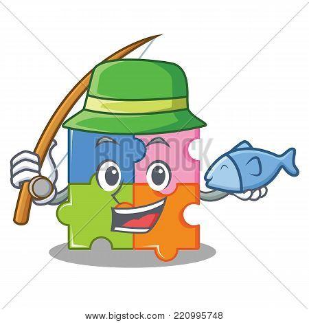 Fishing puzzle mascot cartoon style vector illustration