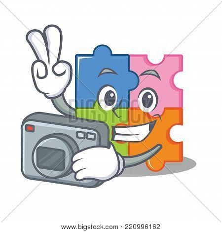 Photographer puzzle mascot cartoon style vector illustration